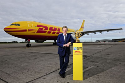 Phil Couchman, CEO of DHL Express with the Webb Ellis Cup