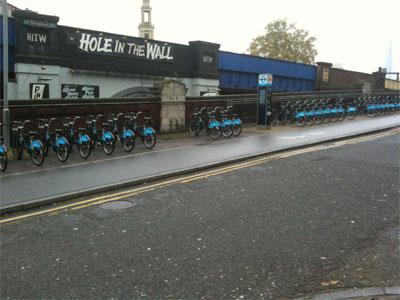 Boris Bikes at London's Waterloo station