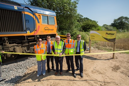 (from left) Julie Garn business manager at GB Railfreight; Paul Graham, operations manager, MSC; Derrick Potter, executive chairman at Potter Logistics; John Smith, MD at GB Railfreight; and Matthew Lamb, MD, Potter Logistics.