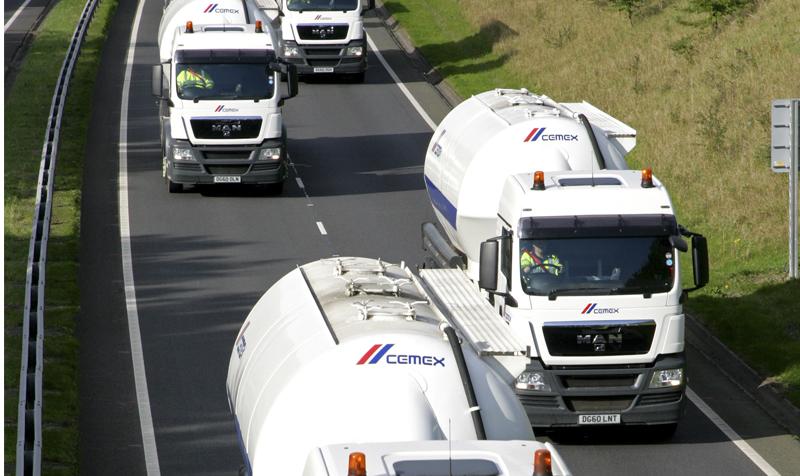 Cemex trucks on road