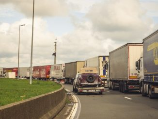 Line of trucks queue to access Calais port