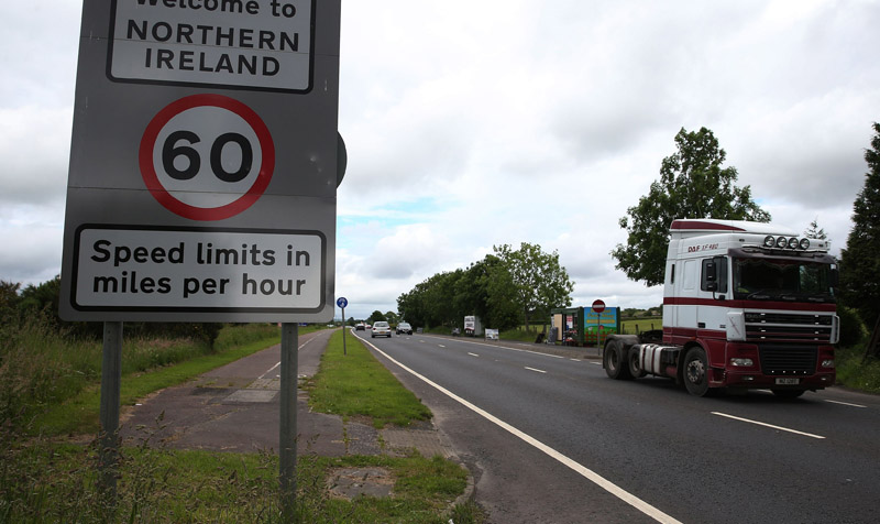 Traffic crossing the border between the Republic of Ireland and Northern Ireland