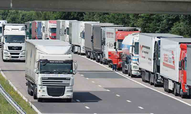 Lorries parked up on the M20 motorway in Ashford, Kent, during Operation Stack
