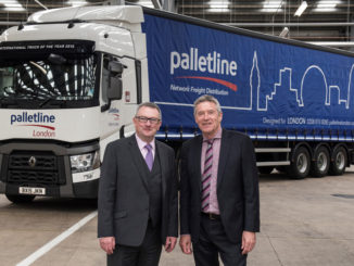 Graham Leitch, MD Palletline and Tiff Needell (R) at Palletline Coventry launch
