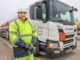 Matthew Cox, senior fleet engineer, with new HOYER Scania P450