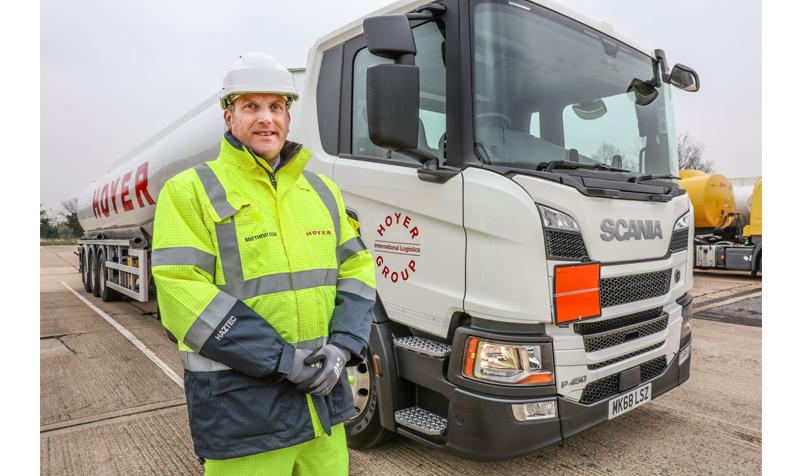 Matthew Cox, senior fleet engineer, with new HOYER Scania P450
