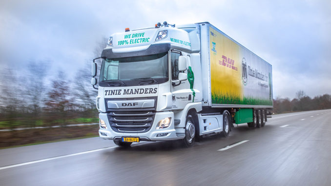 303e9bca12 DAF Trucks has continued development of its all-electric CF tractor unit  with delivery of a trial unit to Dutch operator Tinie Manders Transport.