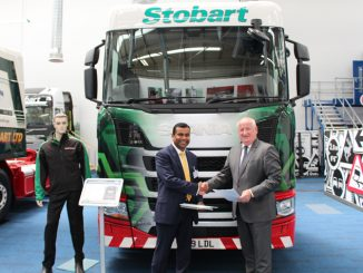 Kondal Reddy Kandadi, deputy vice chancellor of the University of Bolton (L) and Alex Laffey (R), CEO of Eddie Stobart Logistics