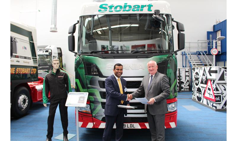 Kondal Reddy Kandadi, deputy vice chancellor of the University of Bolton (L) and Alex Laffey (R), CEO of Eddie Stobart Logistics