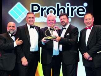 Andrew Morley, group sales director (second right) of sponsor Prohire, with O'Donovan Waste Disposal CEO Michael O'Donovan (centre) and Richard Clarke, commercial director (second left)